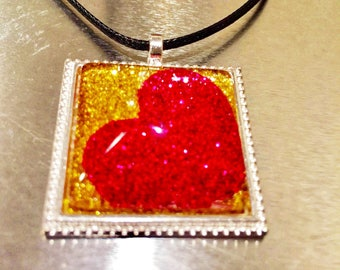 Square Pendant Necklace - Gifts for Wife - Glitter Pendant - Wife Jewelry - Date Night - Love Necklace - Heart Pendant
