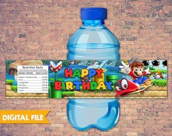 Super Mario Odyssey Water Bottle Label, Super Mario Printable Label,Super Mario Party Printables,Super Mario Theme Birthday Party,Mario Bros
