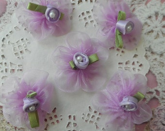 Purple organza flowers with a pink satin and Pearl 3.00 cm in diameter (and 5 flowers)