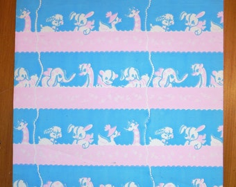 1950's Vintage Baby Infant Toy Animals Wrapping Paper - Baby Gift Wrap - Pink Blue Baby Vintage Gift Wrap - Vintage Baby Shower Gift Wrap