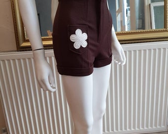Vintage Brown 70s High Waist Flower Trim Hot Pants Shorts 24w Xs