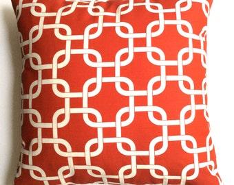 "Red pillow cover - designer pillow,  decorative link design, 18"" x 18"" accent pillow cover, toss pillows, throw pillows, sofa pillows,"
