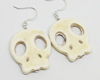 Halloween earrings, skull earrings, white skull earrings, Halloween jewelry, Skull jewelry, handmade, free shipping, ready to ship jewelry