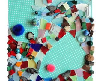 """Tableau artisanat """"Le bazar de l'éléphante"""", art techniques mixtes, collage mosaïque d'art, tableau peinture, décoration, pièce unique"""