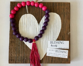 Blessing Beads, Baby Pink and Purple Blessing Garland,  Inspirational Garland, Baby Decor, Baby Girl Gift