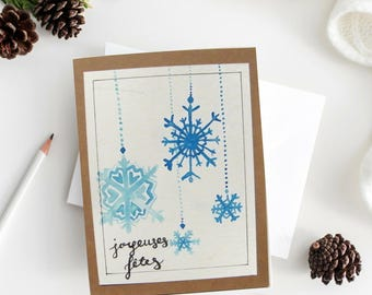 Painted Christmas card handmade Blue / Christmas greeting card watercolor / festive greeting card / happy holidays / snowflake snow / Christmas gift