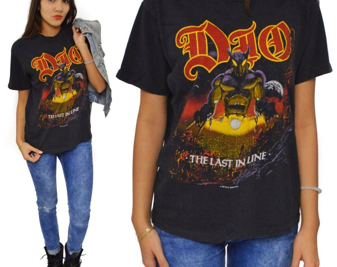 Vintage 80s Dio The Last in Line Heavy Metal T Shirt Sz L