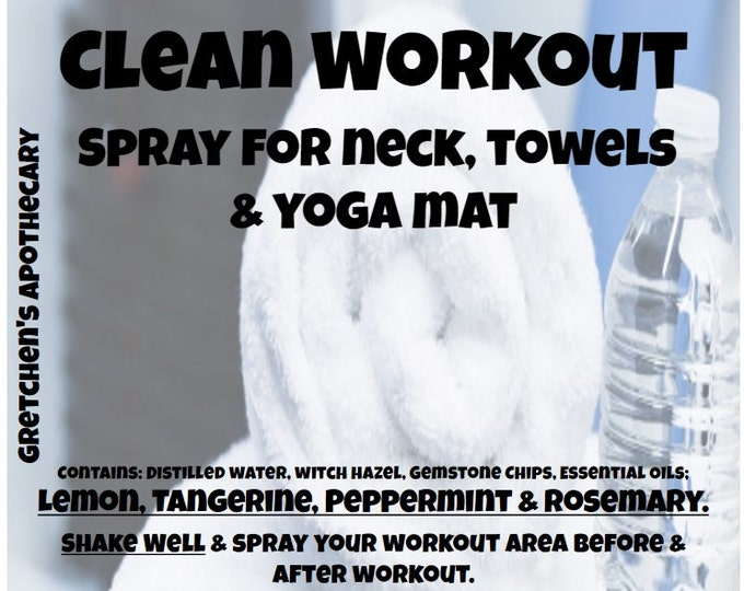 Clean Workout Spray for Neck, Towels & Yoga Mat clnw016 Lemon, Tangerine, Peppermint, Rosemary with Gemstone Chips