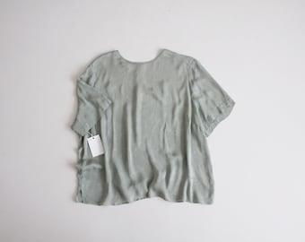 sage silk tee | floral silk blouse | oversized silk top