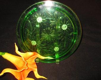 Sunflower Uranium Green Cake Plate on Feet