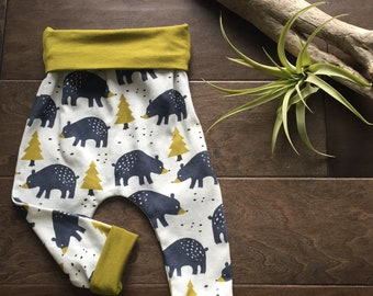 organic cotton and bamboo harem pants for babies and toddlers