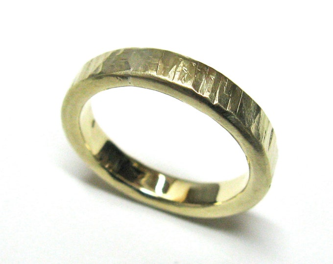 Cross Hammered 10K Gold Wedding Ring.