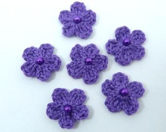 Crochet appliques, 6 small purple crochet flowers, cardmaking, scrapbooking, appliques, craft embellishments, sewing accessories