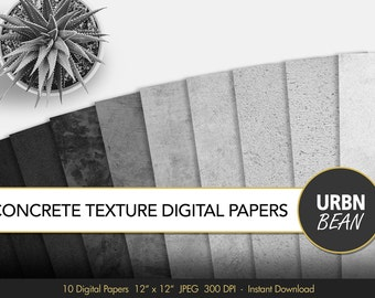 Concrete Digital Paper. Black and White,  Concrete Wallpaper Background, Digital Concrete. Concrete Texture. Printable. Cement. Modern Paper