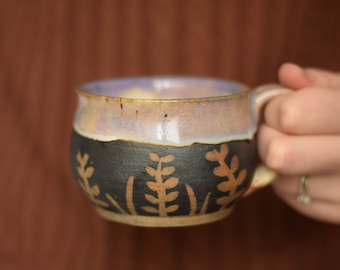 Fern Purple Ceramic Mug - Handmade - Pottery