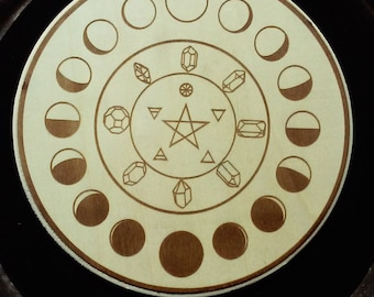 Lunar Moon Phase Crystal Grid Alter Wall Plaque Home Decor Laser Art Planetary Astrology Witch Wicca Pagan Pastel Goth