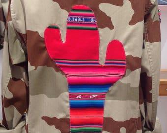 Jacket military camouflage beige customized Bolivian fabric cactus