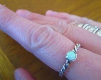 Opal Twist Stack Ring