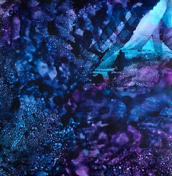 """Original Alcohol Ink Abstract: """"Waiting And Knowing"""" (20"""" x 20"""")"""