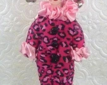 Harlequin Doll Collectible Clown Figurine Miniature Art