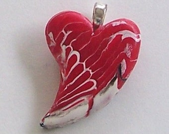Red and White Feather Polymer Clay Heart Pendant by Carol Wilson of PollyClayDesigns
