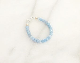 Light Blue 4mm Faceted Jade Gemstone Bracelet