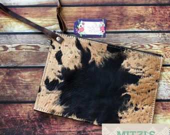 SHIPS TODAY Cowhide Acid Washed Leather Oversized Wristlet