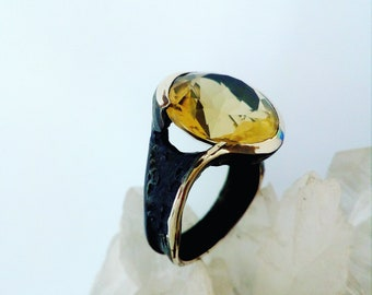 Ring silver 925 burnished silver oxidized lemon quartz single piece