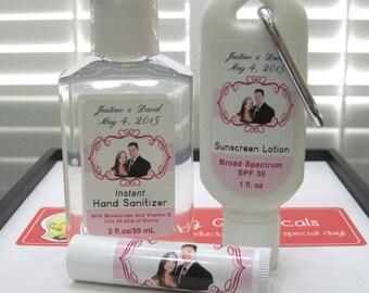 Destination Wedding Sunscreen 30 SPF 2oz Hand Sanitizer Natural Lip Balm Party Favors Beach Wedding Favor Custom Design Bachelorette Favor