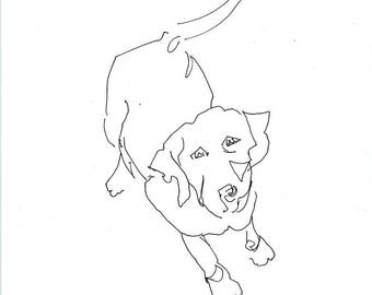 Sketchbook Sale - Dog #4 Original Ink Line Drawing - 8x10 Original Art