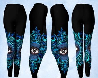 Pantalons leggings, Yoga, oeil psychique, mauvais oeil, All seeing Eye, côté lecteur psychique, Sideshow, show, Gypsy vêtements, Gypsy leggings noir bleu