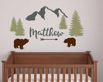 mountains wall decal nursery boho theme nursery wall sticker wall art bear trees wall decor kids wall decals