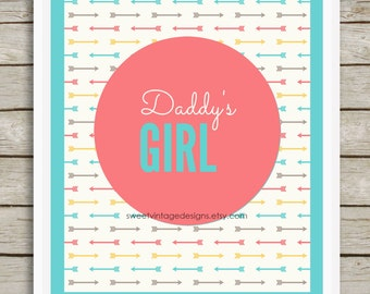 Daddy's Girl Printable, Instant Download, Coral Nursery Decor, Tribal Nursery Art, Girl Nursery Wall Decor, Girl Nursery Printable