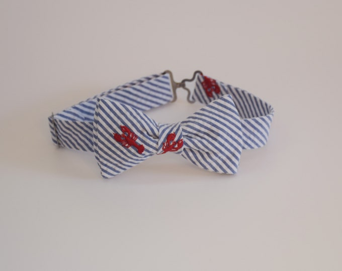 Boy's pre-tied Bow Tie, blue/white seersucker, red lobster embroidery,  wedding accessory, toddler bow tie, ring bearer bow tie, LAST ONE