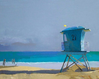 "Sale 20% off Oil Painting, 24x36"", Lifeguard Tower at the Beach, Beach Decor  by B. Kravchenko for SEASTYLE FREE U.S. SHIPPING"