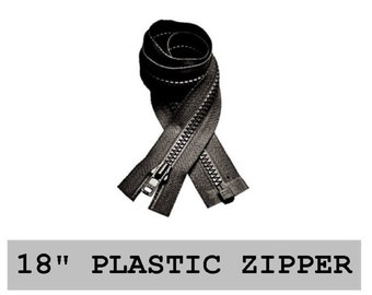 "10 Zippers - 18"" - YKK Molded Plastic - 18 inch - Open Bottom, Black - SEPARATING Jacket ZIPPERS"