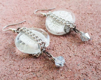 Ice Metallic Glass Circle Earrings with Chain and Faceted Dangle Industrial Chic By Distinctly Daisy