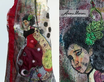 Masterpiece Wearable Art Women Vest  - Ecofriendly Slow Design Paris -  Reversible Women Vest - Fiber Art Painting Nuno Felt Embroidery