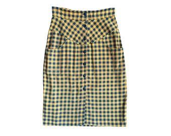 SALE Hello Yellow Flannel Pencil Skirt