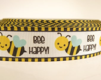 "5 yards of 7/8 inch ""Bee happy"" grosgrain ribbon"