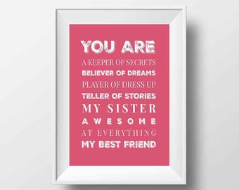 My Sister My Best Friend Printable Wall Art 11x14 Pink White Instant Download