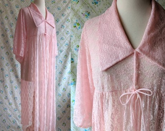 1950s sheer pink lace dressing gown