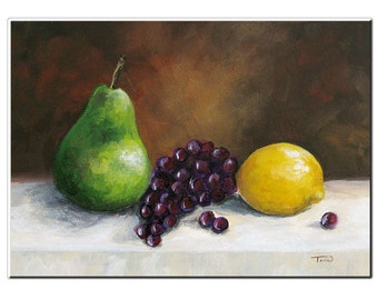 """Pear Study with Lemon 5"""" x 7"""" Original Painting on Ampersand Aquabord by Torrie Smiley"""