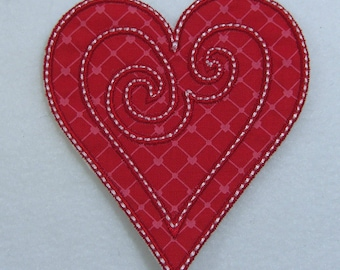 Swirled Heart Fabric Embroidered Iron On Applique Patch Ready to Ship