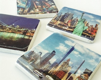 NYC Coasters- New York City Landmarks - Freedom Tower - Statue of Liberty - Times Square - Set of 4