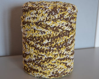 Recycled cotton reel caramel white curls Winding yellow mix