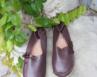 Leather shoes in Brown, leather ballet flats, Leather ballet flats leather ! Womens flats, leather womens slip ons, ballerines femme, shoes
