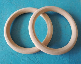 "2 Pcs Large  74mm (3"")Wood  Ring  Unfinished Wooden Circle No Varnish (W466)"