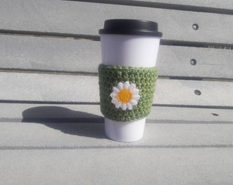 Daisy cup cozy, daisy coffee cup cozy, daisy travel mug cozy, coffee sleeve, travel mug to go cup sleeve bridesmaid maid of honor gifts