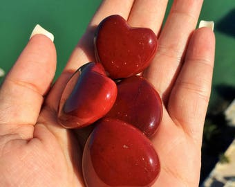 Bulk Gifts for Mom / 10 Red Jasper Hearts / Wholesale Crystals Heart / Healing Crystals and Stones